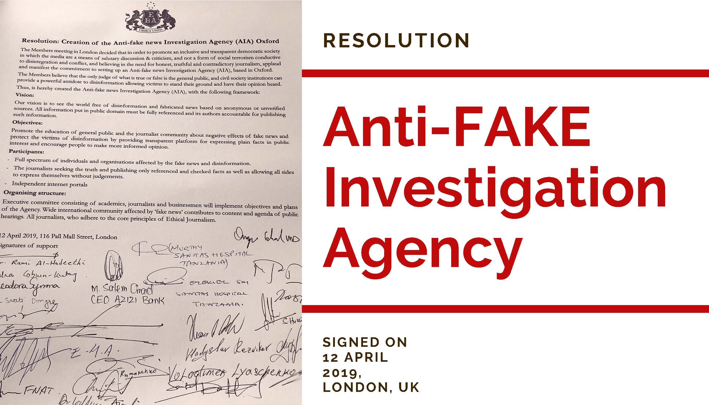 ANTI-FAKE INVESTIGATION AGENCY, a powerful ANTIDOTE to DISINFORMATION and FAKE NEWS